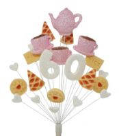 Afternoon tea 60th birthday cake topper decoration in pale pink and white - free postage
